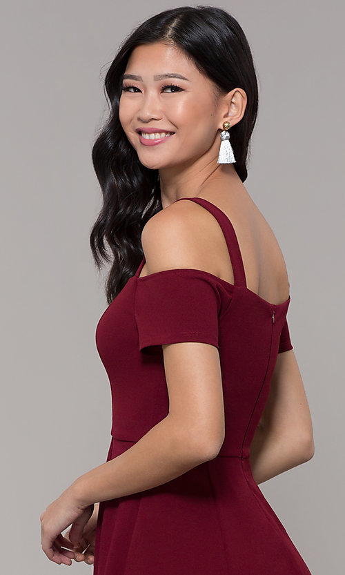 Image of short jersey cold-shoulder holiday dress by Simply. Style: MCR-SD-2529 Detail Image 2
