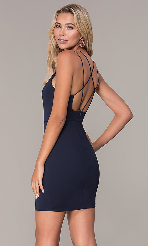 Image of multi-strap short holiday dress by Simply. Style: MCR-SD-2541 Front Image