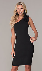 Image of one-shoulder short black cocktail dress by Simply. Style: MCR-SD-2515 Front Image