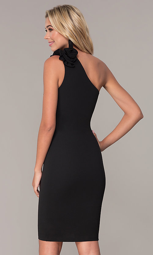 Image of one-shoulder short black cocktail dress by Simply. Style: MCR-SD-2515 Back Image