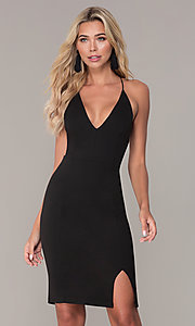 Image of side-slit black jersey cocktail dress by Simply. Style: MCR-SD-2575 Front Image
