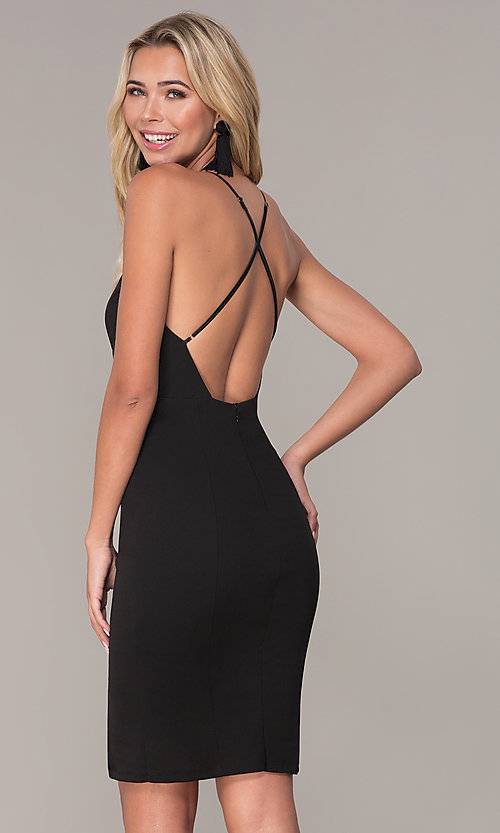 Image of side-slit black jersey cocktail dress by Simply. Style: MCR-SD-2575 Back Image