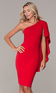 Image of red one-shoulder cocktail dress by Simply. Style: MCR-SD-2511 Front Image