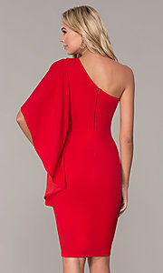 Image of red one-shoulder cocktail dress by Simply. Style: MCR-SD-2511 Back Image