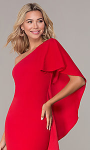 Image of red one-shoulder cocktail dress by Simply. Style: MCR-SD-2511 Detail Image 1