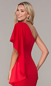 Image of red one-shoulder cocktail dress by Simply. Style: MCR-SD-2511 Detail Image 2