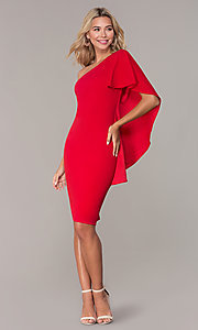 Image of red one-shoulder cocktail dress by Simply. Style: MCR-SD-2511 Detail Image 3