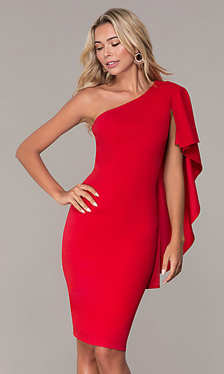 Red One-Shoulder Cocktail Dress by Simply