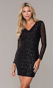 Image of sequined short black holiday dress by Simply. Style: MCR-SD-2519 Front Image