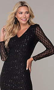 Image of sequined short black holiday dress by Simply. Style: MCR-SD-2519 Detail Image 1
