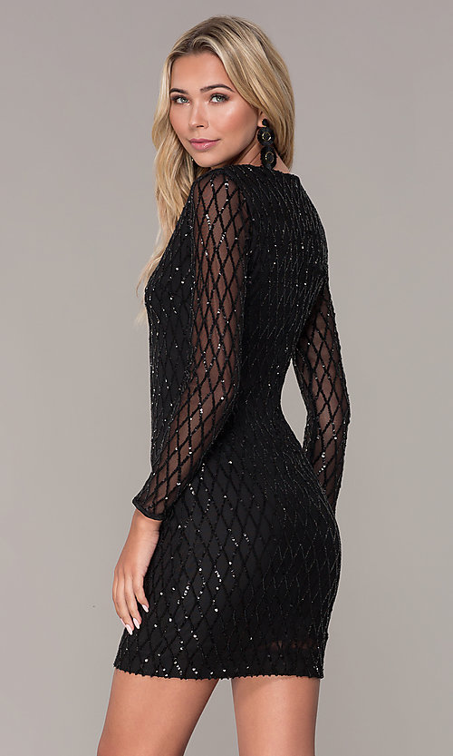 Image of sequined short black holiday dress by Simply. Style: MCR-SD-2519 Back Image