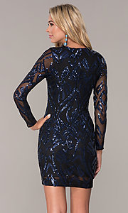 Image of long-sleeve short navy blue holiday dress by Simply. Style: MCR-SD-2526 Back Image