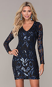 Image of long-sleeve short navy blue holiday dress by Simply. Style: MCR-SD-2526 Front Image