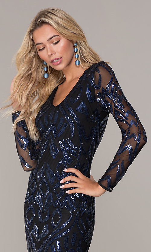 Image of long-sleeve short navy blue holiday dress by Simply. Style: MCR-SD-2526 Detail Image 1