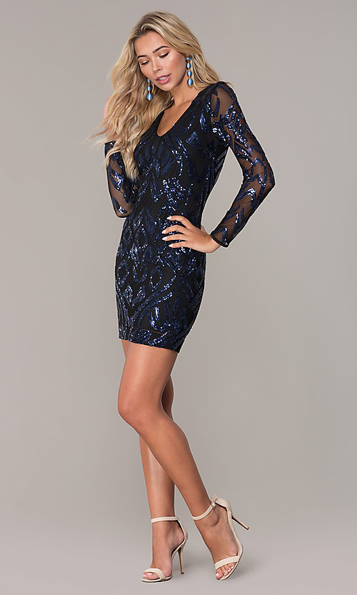 Image of long-sleeve short navy blue holiday dress by Simply. Style: MCR-SD-2526 Detail Image 3