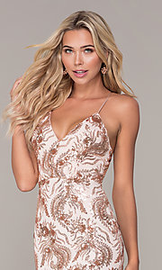 Image of short sequin rose gold holiday dress by Simply. Style: MCR-SD-2528 Detail Image 1