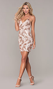 Image of short sequin rose gold holiday dress by Simply. Style: MCR-SD-2528 Detail Image 3