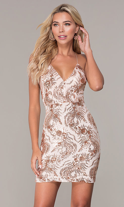 Image of short sequin rose gold holiday dress by Simply. Style: MCR-SD-2528 Front Image