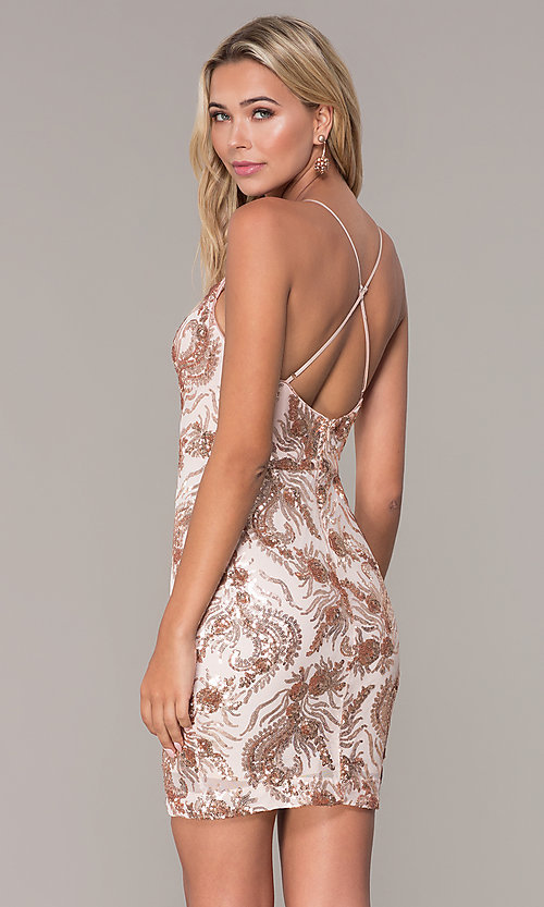 Image of short sequin rose gold holiday dress by Simply. Style: MCR-SD-2528 Back Image