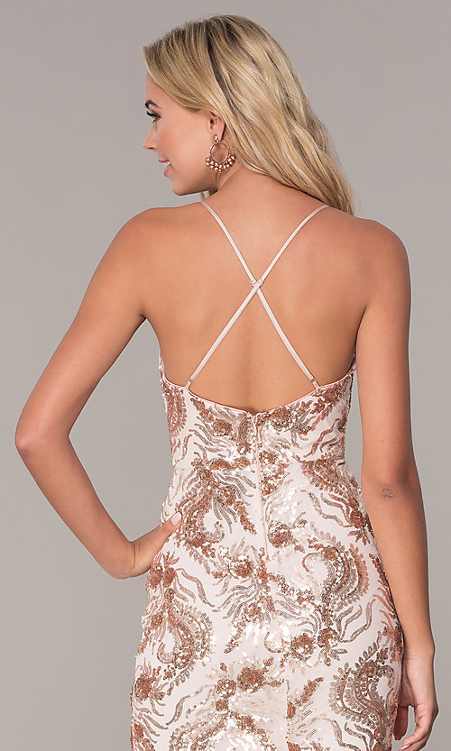 Image of short sequin rose gold holiday dress by Simply. Style: MCR-SD-2528 Detail Image 2