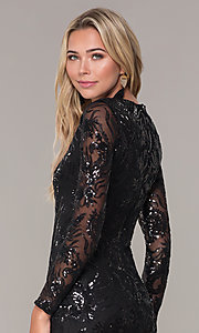 Image of long-sleeve short sequin holiday dress by Simply. Style: MCR-SD-2547B Detail Image 2