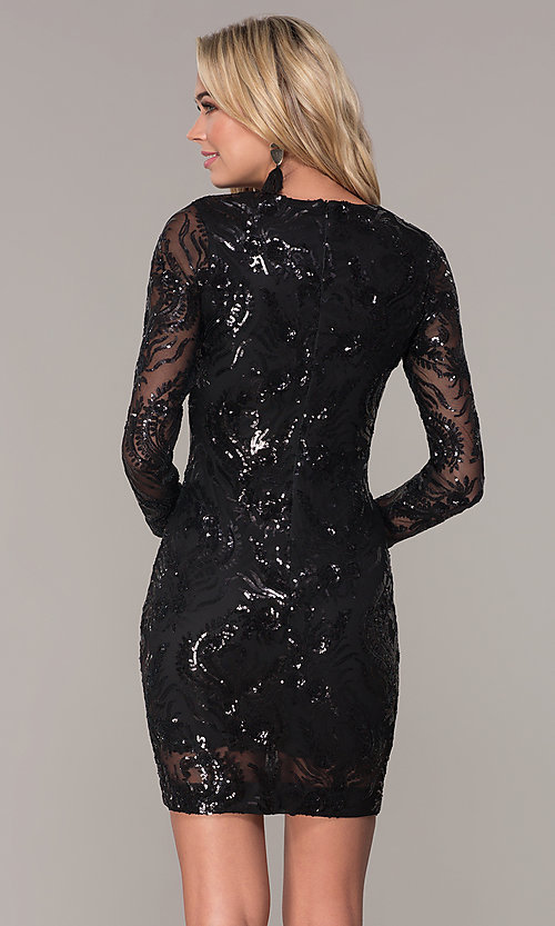 Image of long-sleeve short sequin holiday dress by Simply. Style: MCR-SD-2547B Back Image