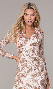 Image of rose gold sequin long-sleeve holiday dress by Simply Style: MCR-SD-2547RG Detail Image 1