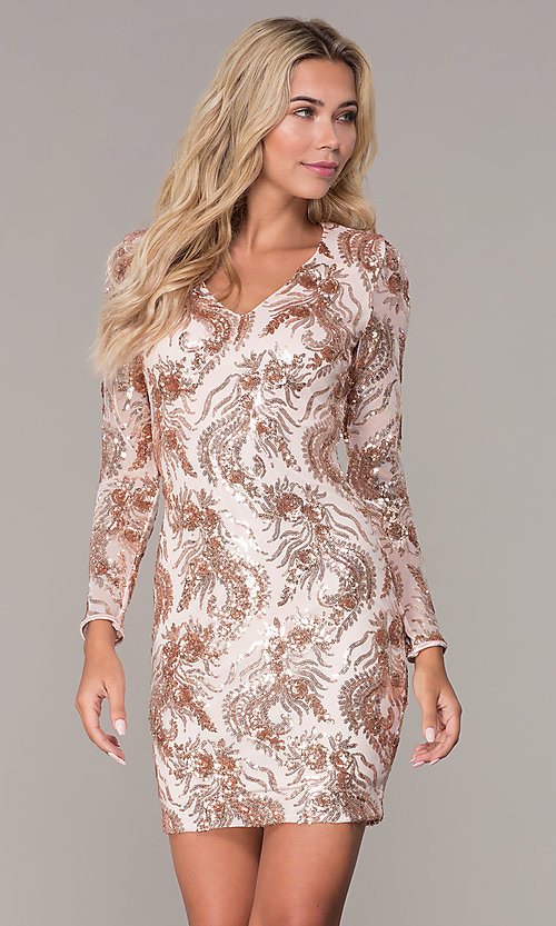 736ac1acedfb Image of rose gold sequin long-sleeve holiday dress by Simply Style  MCR-