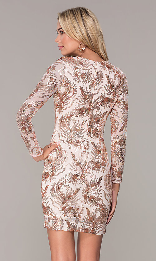 Image of rose gold sequin long-sleeve holiday dress by Simply Style: MCR-SD-2547RG Back Image