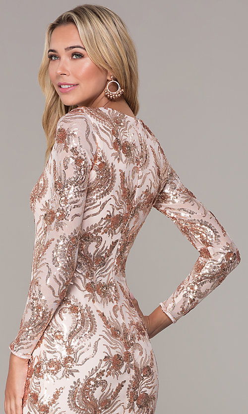 Image of rose gold sequin long-sleeve holiday dress by Simply Style: MCR-SD-2547RG Detail Image 2