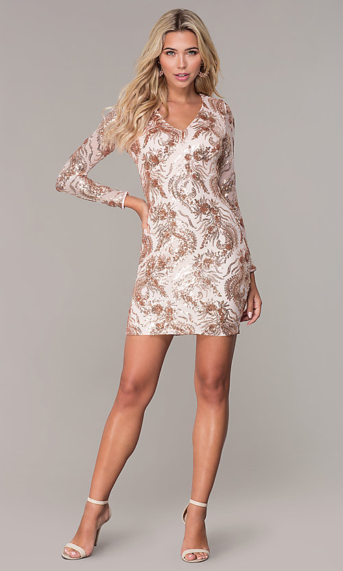 Image of rose gold sequin long-sleeve holiday dress by Simply Style: MCR-SD-2547RG Detail Image 3