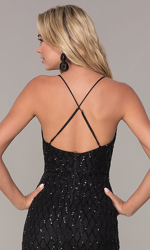 Image of sequined black short holiday party dress by Simply. Style: MCR-SD-2545B Detail Image 2