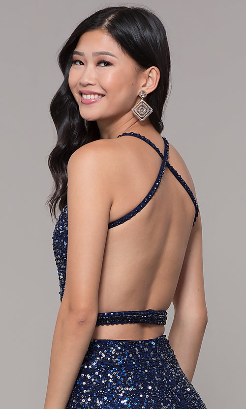 Image of open-back sweetheart long sequin formal dress. Style: PV-PL-124 Detail Image 7
