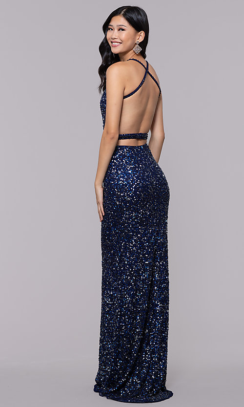 Image of open-back sweetheart long sequin formal dress. Style: PV-PL-124 Detail Image 5
