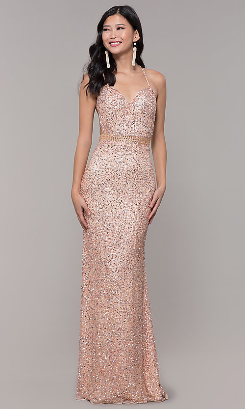 Image of open-back sweetheart long sequin formal dress. Style: PV-PL-124 Front Image