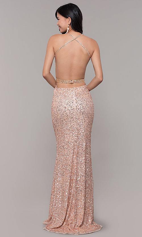 Image of open-back sweetheart long sequin formal dress. Style: PV-PL-124 Back Image