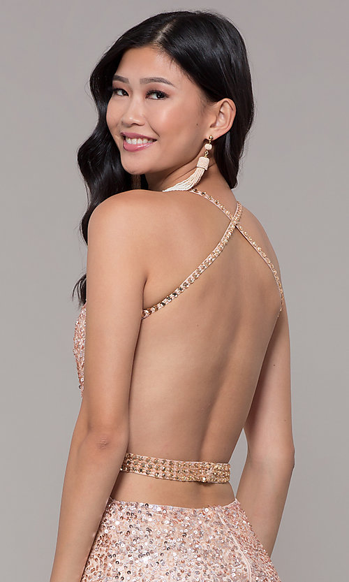 Image of open-back sweetheart long sequin formal dress. Style: PV-PL-124 Detail Image 2