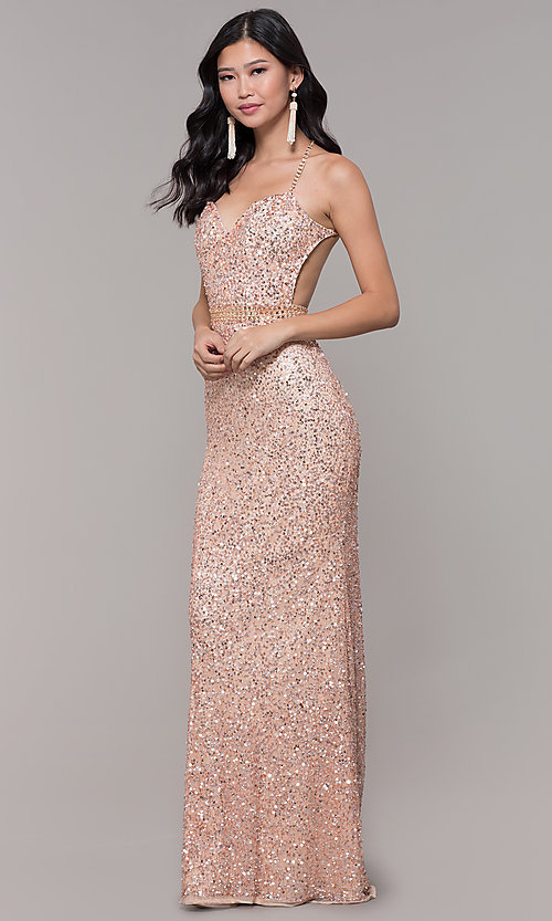 Image of open-back sweetheart long sequin formal dress. Style: PV-PL-124 Detail Image 3