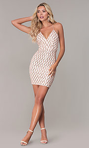 Image of short sequined rose gold holiday dress by Simply. Style: MCR-SD-2545RG Detail Image 3
