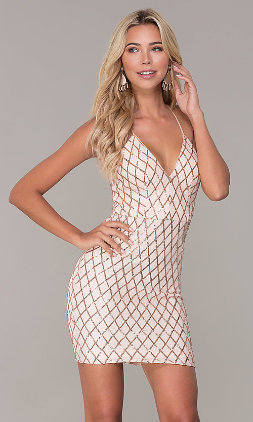 Image of short sequined rose gold holiday dress by Simply. Style: MCR-SD-2545RG Front Image