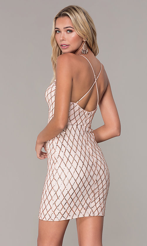 Image of short sequined rose gold holiday dress by Simply. Style: MCR-SD-2545RG Back Image