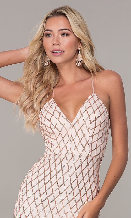 Image of short sequined rose gold holiday dress by Simply. Style: MCR-SD-2545RG Detail Image 1