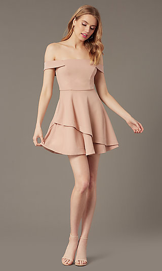 Short Off-the-Shoulder Semi-Formal Party Dress