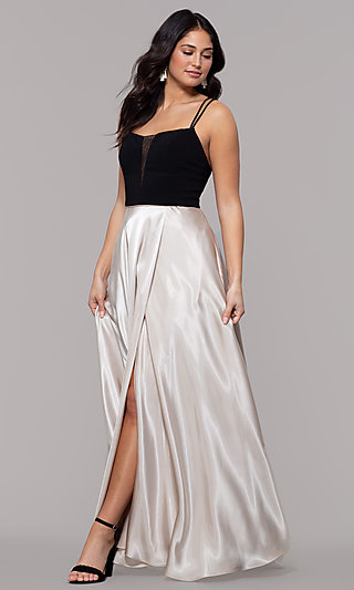 Black and Gold Long Satin Formal Dress with Pockets