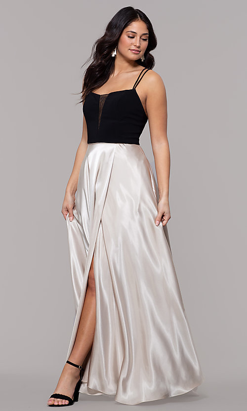Image of black and gold long satin formal dress with pockets. Style: BN-1068BN Front Image