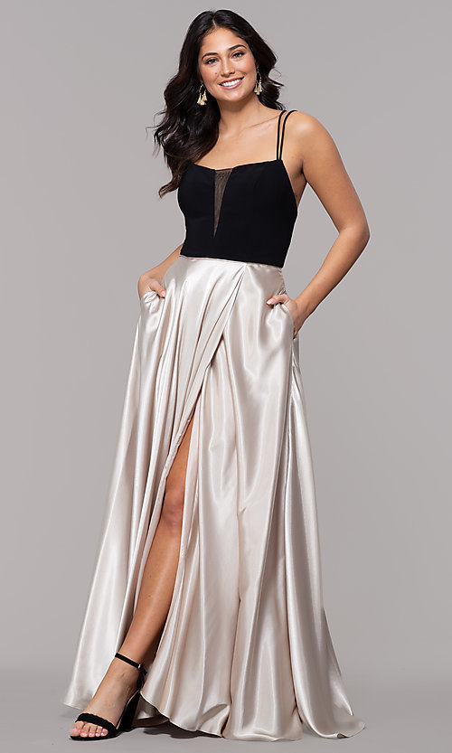 Image of black and gold long satin formal dress with pockets. Style: BN-1068BN Detail Image 3