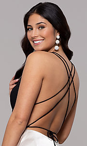 Image of faux-wrap long backless v-neck formal evening dress. Style: BN-1071BN Detail Image 2