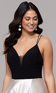 Image of faux-wrap long backless v-neck formal evening dress. Style: BN-1071BN Detail Image 1