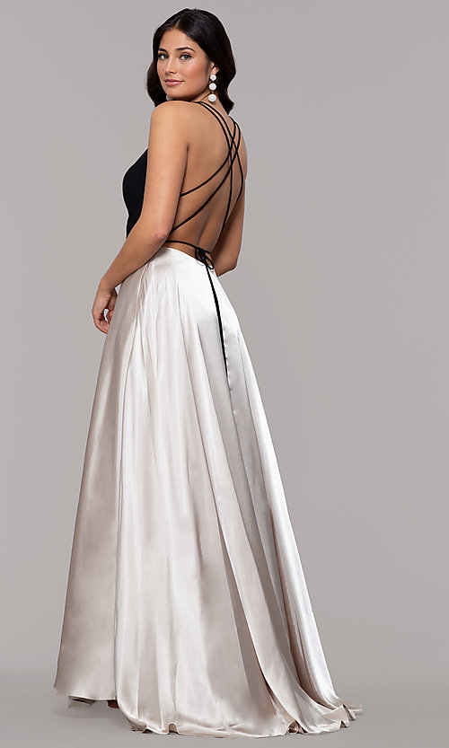 Image of faux-wrap long backless v-neck formal evening dress. Style: BN-1071BN Front Image