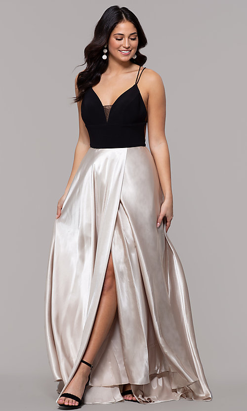 Image of faux-wrap long backless v-neck formal evening dress. Style: BN-1071BN Detail Image 3